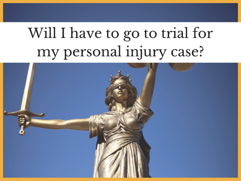 Will I have to go to trial for my personal injury case?
